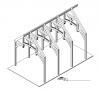 3D view of hammer beam trusses