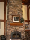 Shaver Lake timber frame stone fireplace