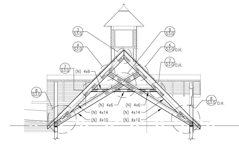 Santa ana trusses pacific post beam for Scissor truss design