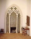 european marble window frame as fireplace surround