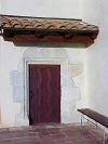 Redwood river of life pattern passage door with marble door surround