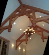 These hammerbeam trusses were designed for an addition to a home in Santa Cruz to house a pipe organ. Trusses finished