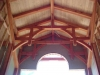 These hammerbeam trusses are in a timberframed home in Santa Cruz.